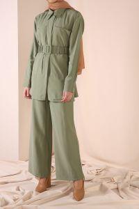 Cep Detaylı Kemerli Pantolonlu Takım