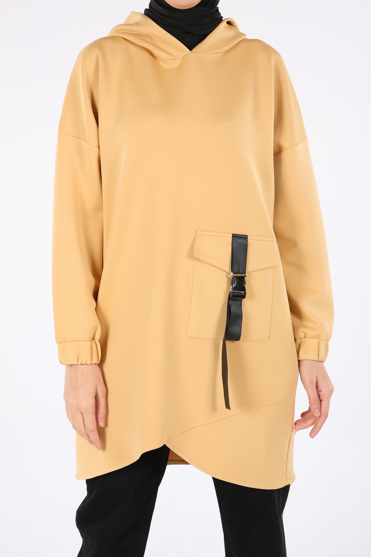 Pocket Detail Hooded Sweatshirt Tunic