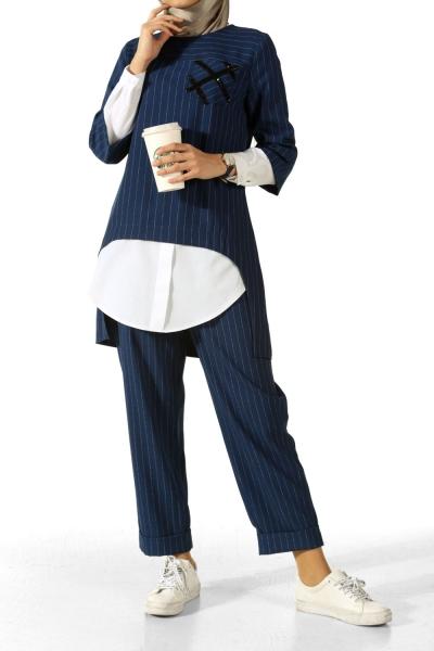 Çizgili Tunik Pantolon Takım