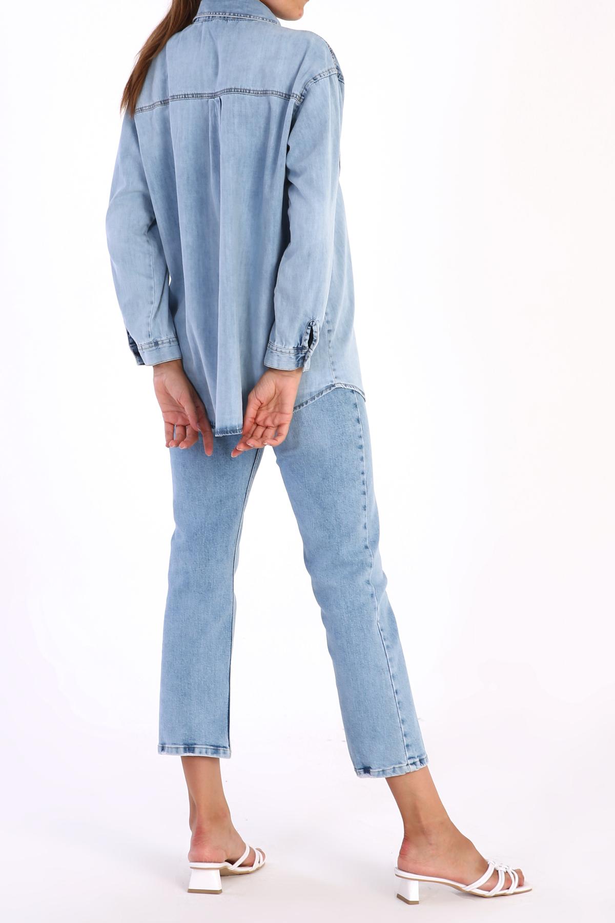 Flap Pocket Front Comfy Jean Shirt