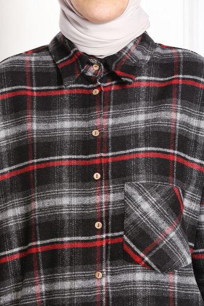 Cepli Düğmeli Ekose Gömlek