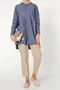 DENIM LINEN SHIRT TUNIC