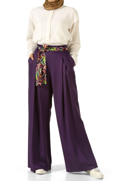 Viscose Belted Wide Leg Trousers