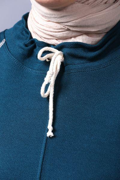 Eteğinden Bağlamalı Cepli Örme Tunik