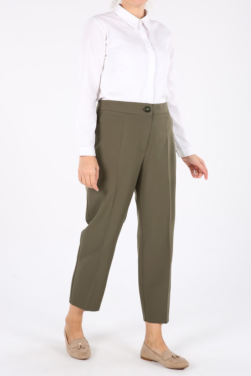 Pocket Buttoned Zippered Hijab Pants