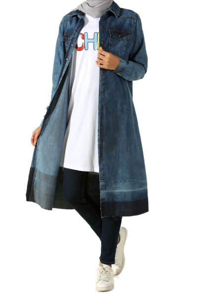 RIBBED DENIM TUNIC WITH POCKET