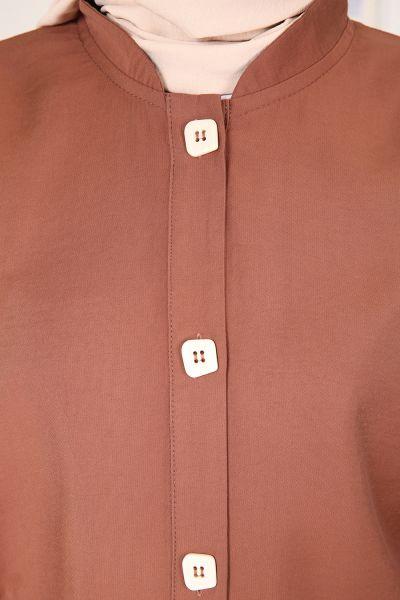 Viskon Cepli Düğmeli Gömlek Tunik