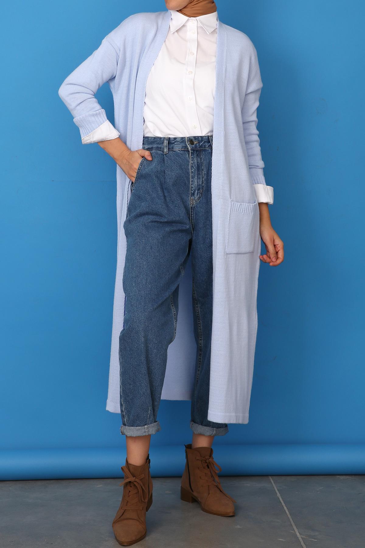 Long Knitwear Cardigan with Pocket