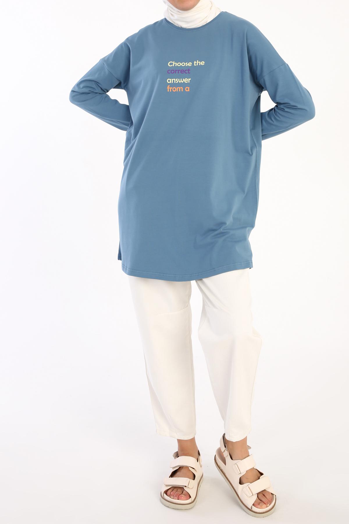 Choose Correct Printed Long Sleeve T-Shirt Tunic