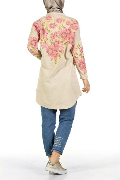 Çiçek Baskılı Triko Tunik