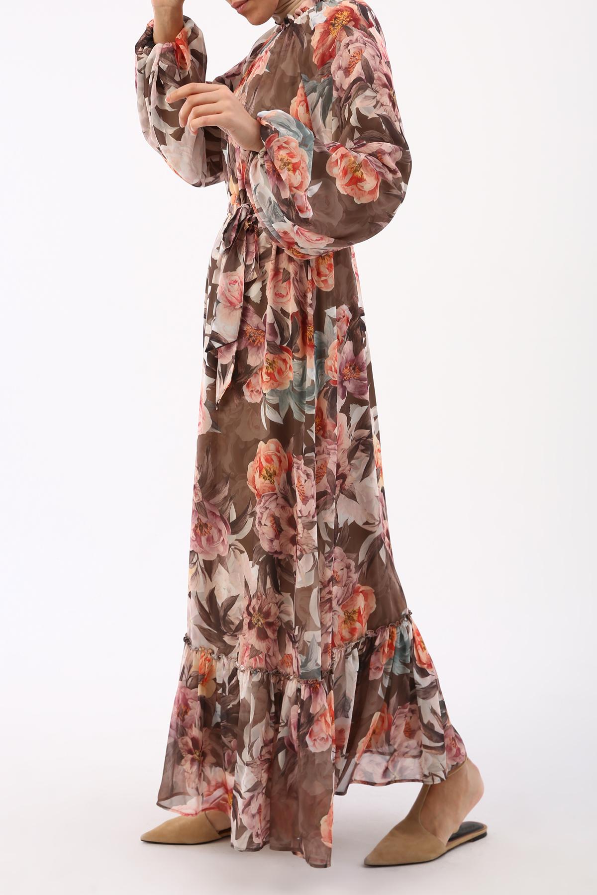 Bishop Sleeve Floral Chiffon Dress