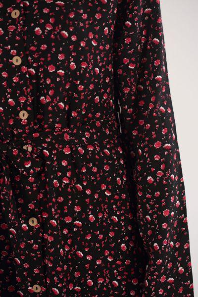 Çiçekli Kuşaklı Gömlek Elbise