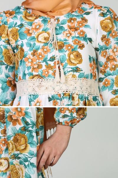 Yaka Bağcıklı Çiçekli Tunik