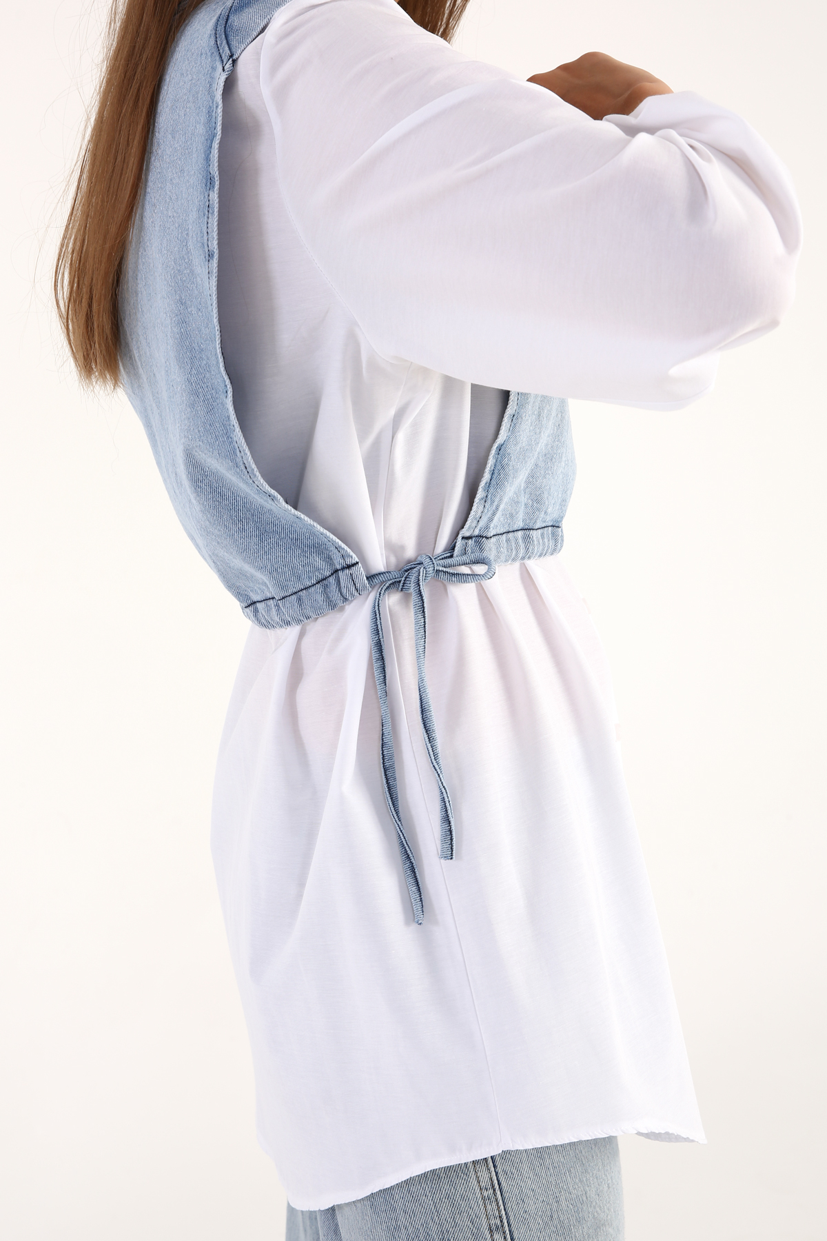 Çıkarılabilir Denim Üstlü Gömlek Tunik