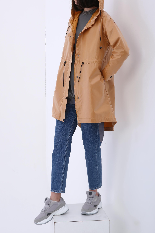 Snap Button Elastic Waist Pocket Hooded Raincoat