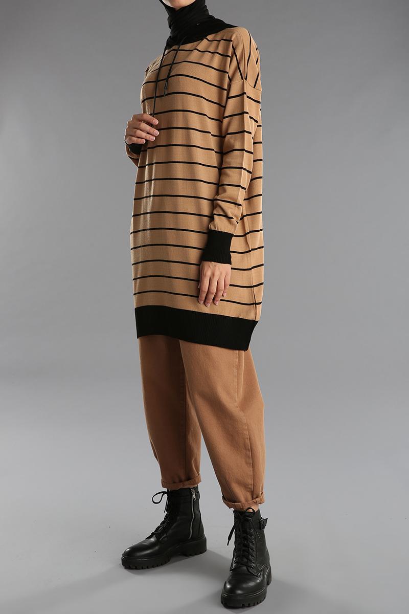 Patterned Hooded Sweatshirt Tunic