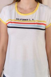 Çizgi Şerit Baskılı Kısa Kol T-Shirt