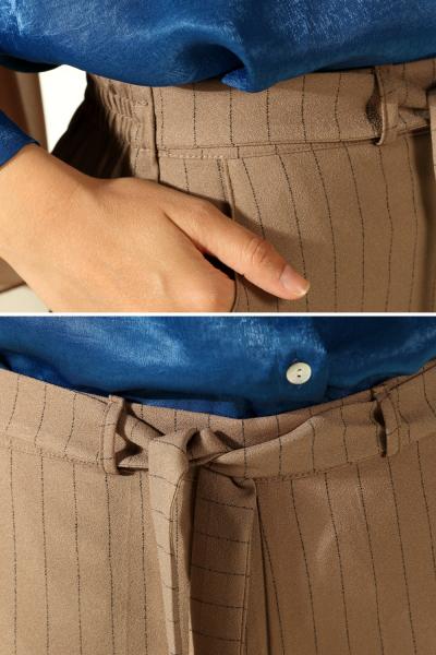 Çizgili Cepli Pantolon