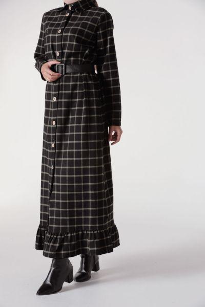 Çizgili Kemerli Ekose Elbise