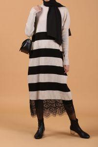 Eteği Güpürlü Çizgili Elbise