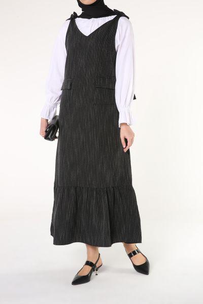 Cepli Çizgili Jile Elbise