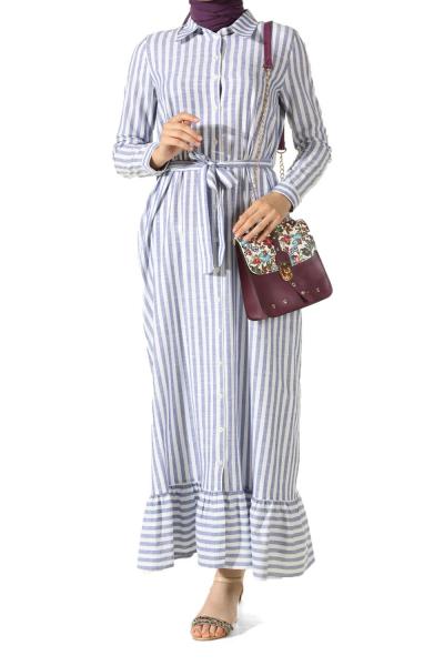 Çizgili Kuşaklı Elbise