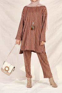 STRIPED HIJAB SUIT WITH PANTS