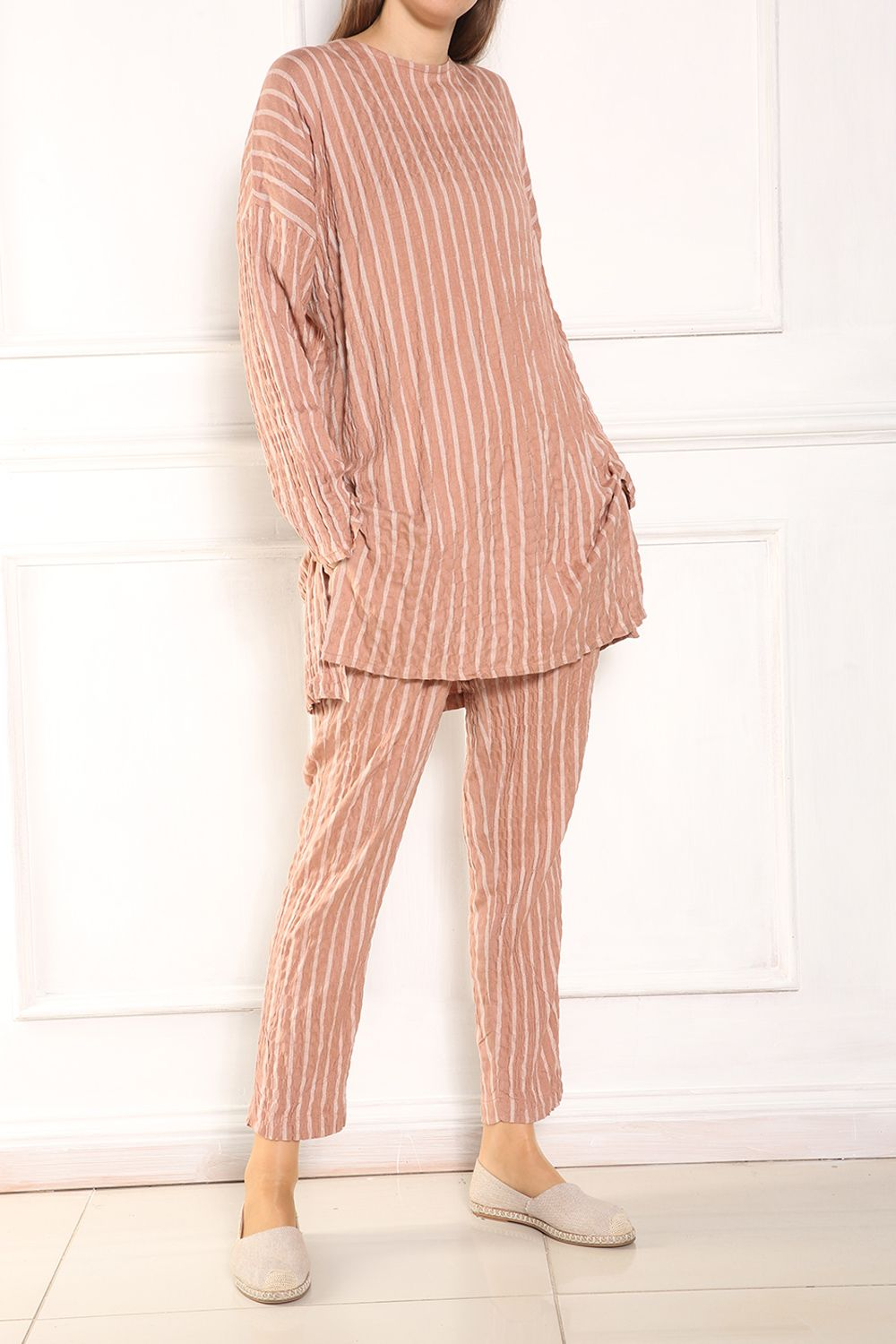 Striped Crew Neck Blouse and Pants Set