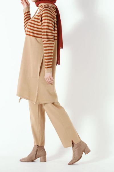 Çizgili Pantolonlu Triko Takım