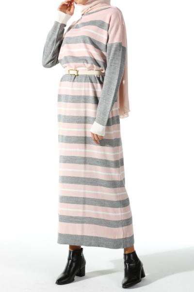 STRIPED KNITWEAR DRESS