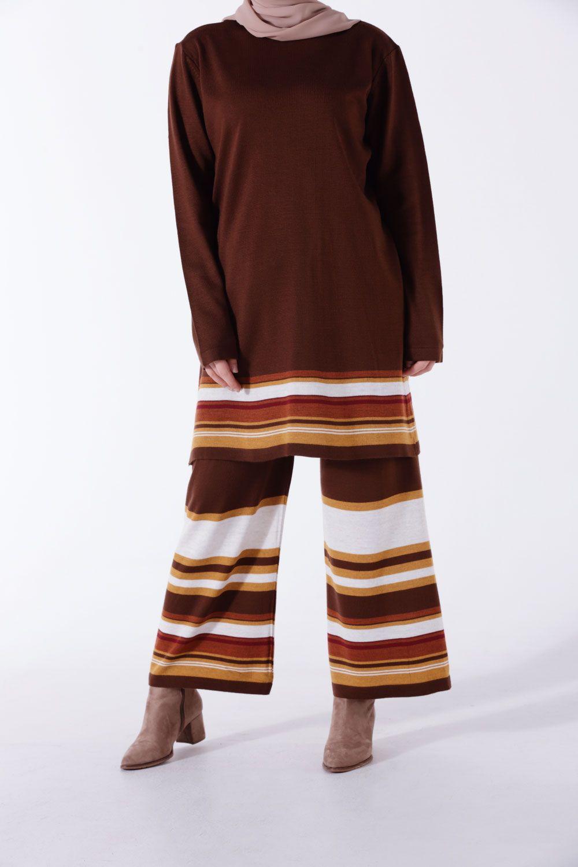Striped Knitwear Blouse and Pants Set
