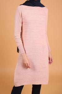 Striped Silvery Knitwear Tunic