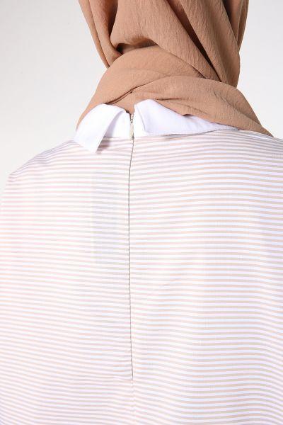 Çizgili Cepli Gömlek Garnili Tunik
