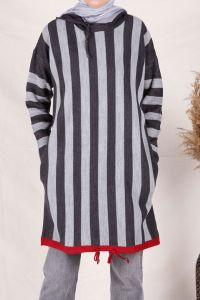 Striped Hooded Knitwear Tunic