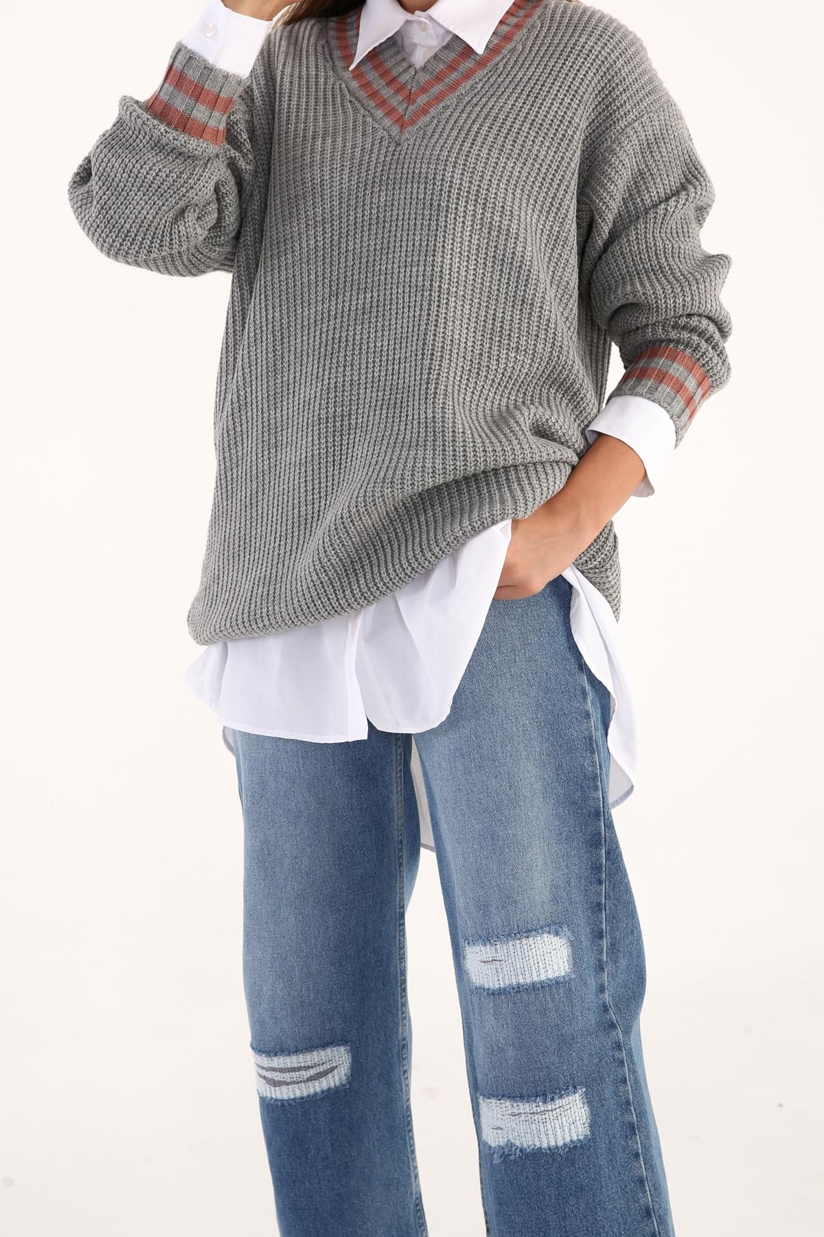 Stripe V Neck Knitwear Sweater