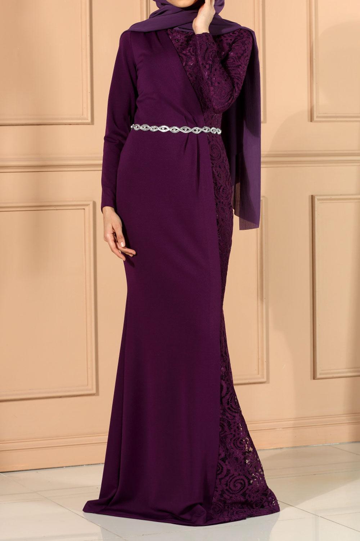 5f0a0baa8b Purple LACE DETAIL EVENING DRESS - 312-39224