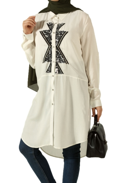 Pearl Detail Shirt Tunıc