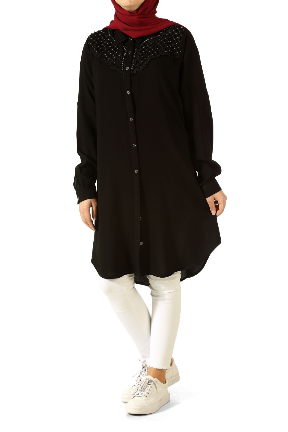 Lace Robed Pearl Shirt Tunic