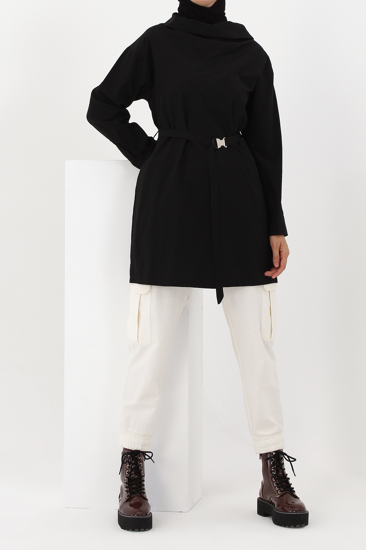 Self Belted Cowl Neck Tunic