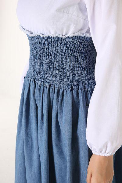Bel Büzgülü Denim Elbise