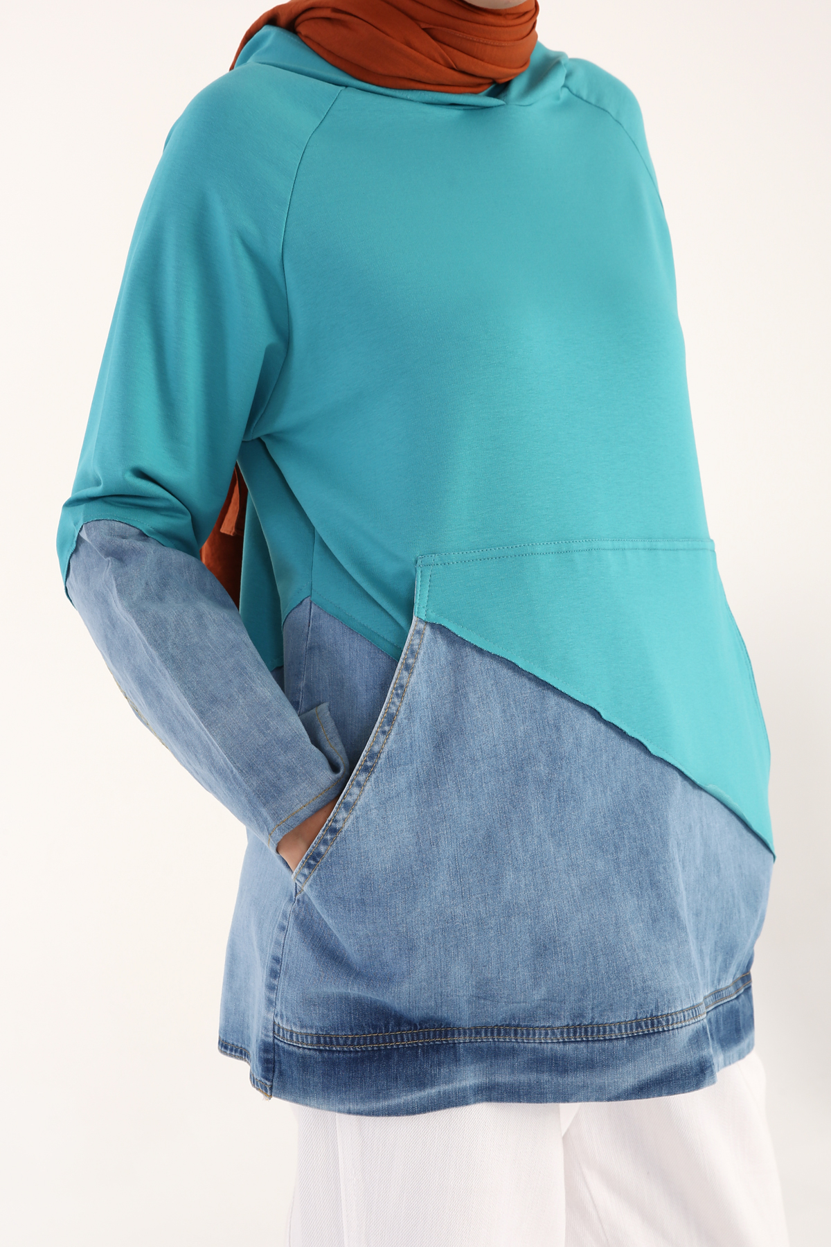 Hooded Denim Detailed Sweatshirt Tunic