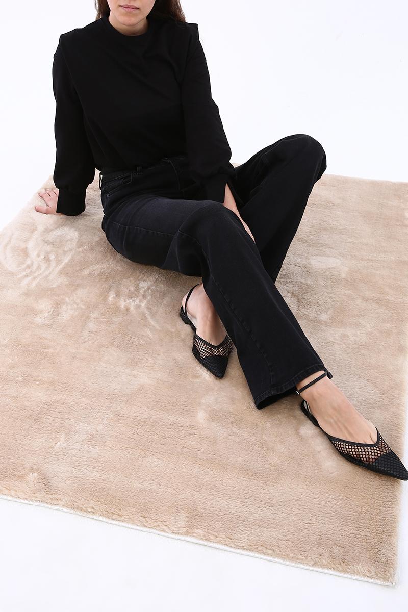 Yüksek Bel Bol Paça Denim Pantolon