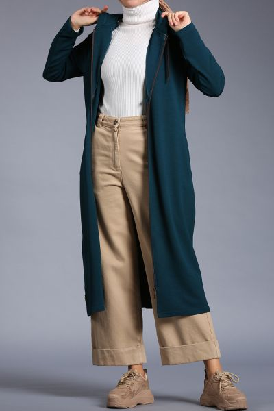 Hooded Zippered Long Cardigan