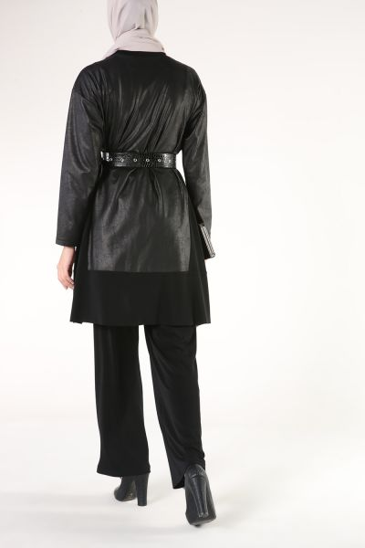 LEATHER DETAILED TROUSERS DOUBLE HİJAB SUIT