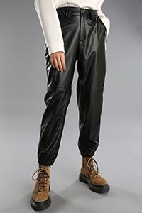 Deri Görünümlü Beli Lastikli Cepli Pantolon