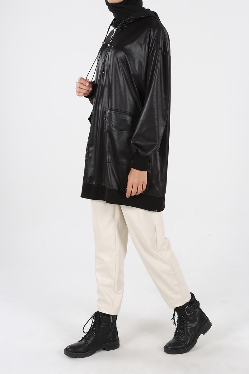 Deri Görünümlü Kapüşonlu Sweat Tunik