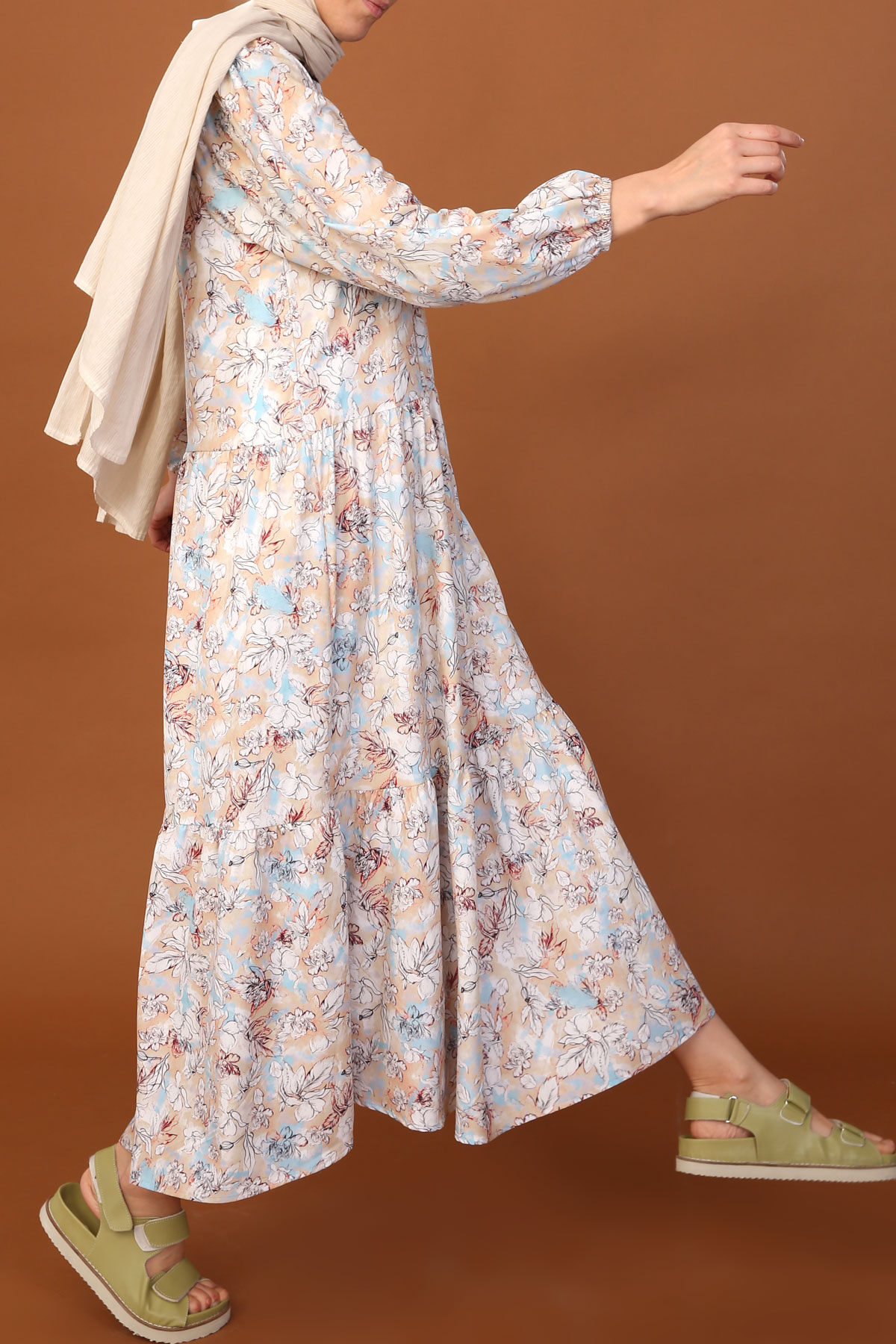 Floral A-line Peasant Sleeve Dress