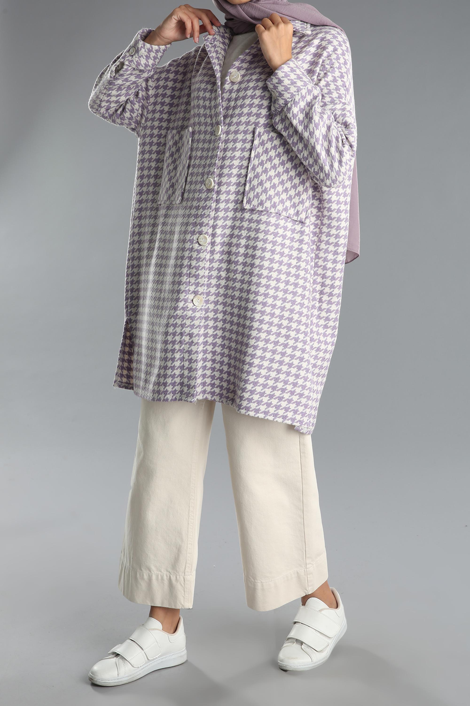 Desenli Düğmeli Cepli Pamuklu Ceket