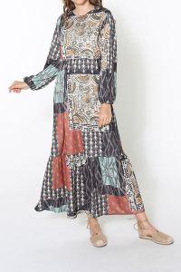 Desenli Bel Lastikli Elbise