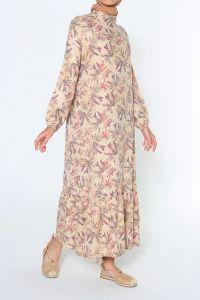 Desenli Kolları Lastikli Elbise